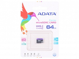 Карта памяти ADATA 64GB microSDXC UHS-I class10 without SD adapter, AUSDX64GUICL10-R, 64Gb,  MicroSDXC,  Class 10