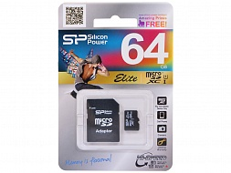 Карта памяти SILICON POWER  SP064GBSTXBU1V10-SP, 64Gb,  MicroSDXC,  Class 10