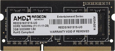 Память AMD R532G1601S1S-UO, 2Gb,  SO-DIMM,  DDR3,  1600 МГц